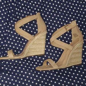 Crisscross Nude Wedges